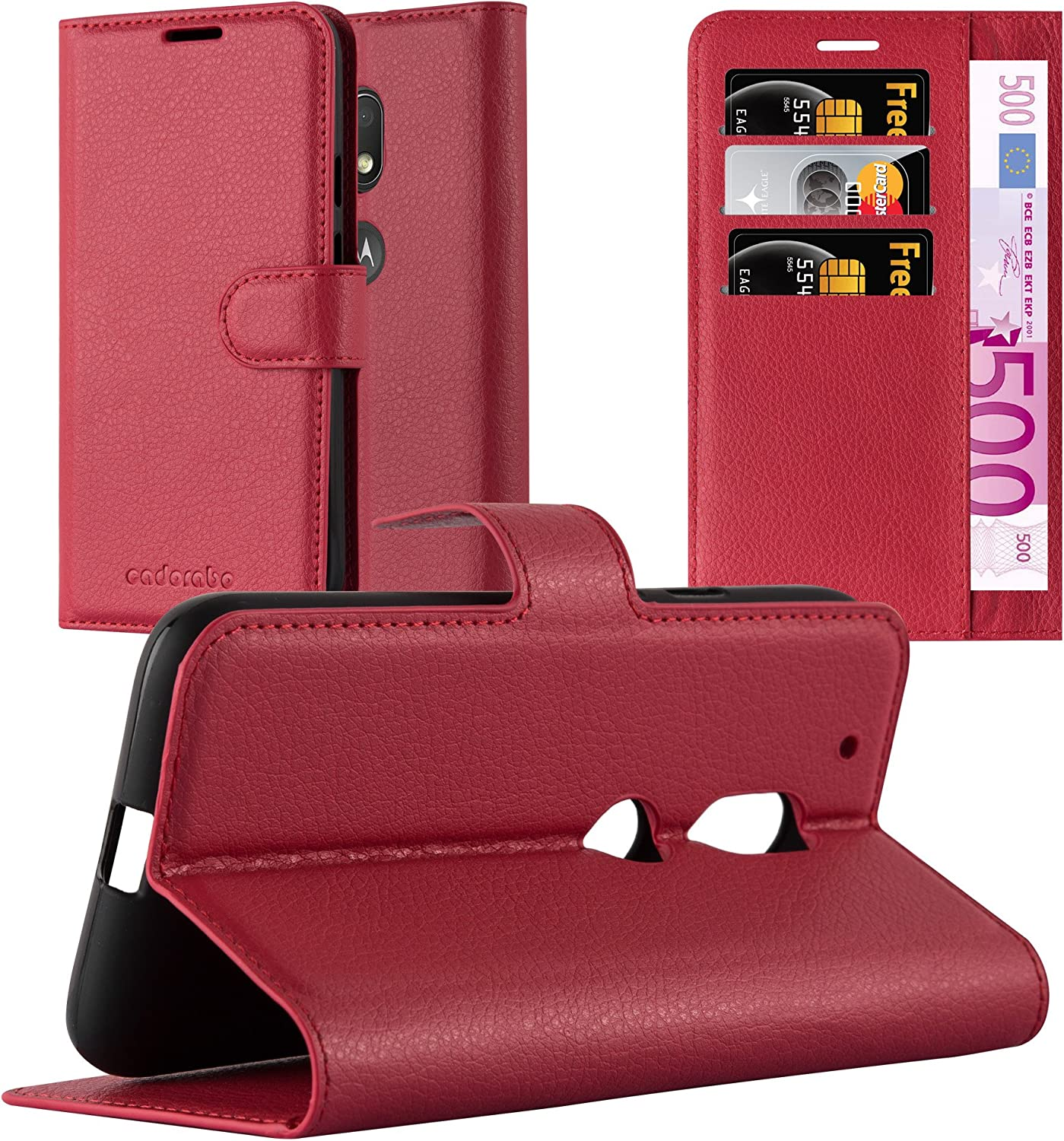 Cadorabo Book Case Compatible with Motorola Moto G4 Play in Candy Apple RED - with Magnetic Closure, Stand Function and Card Slot - Wallet Etui Cover Pouch PU Leather Flip