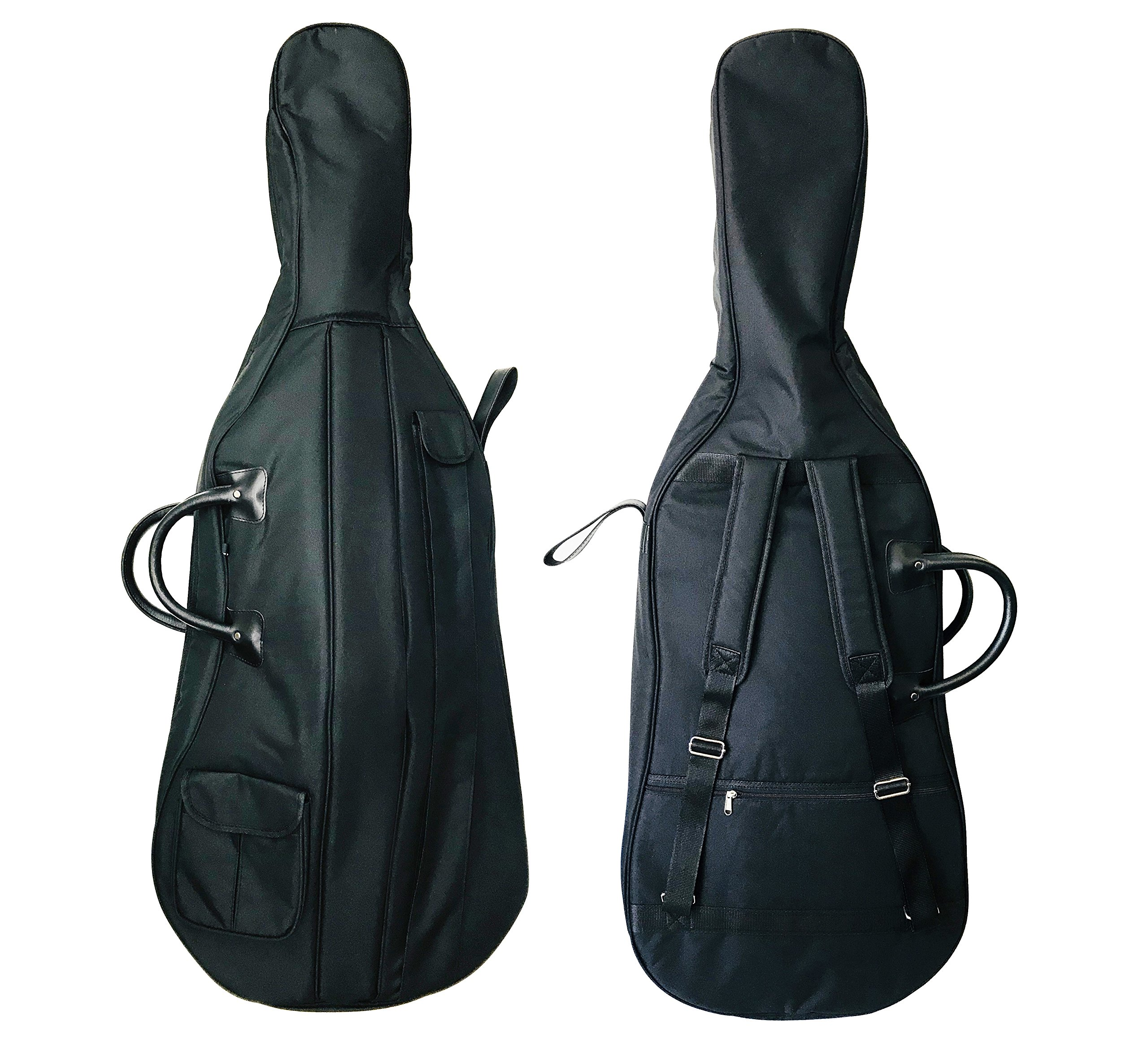 MI&VI Cello Soft Case Cello Gig Bag - Double Stitched, 12mm Thick Padded, Sturdy Waterproof Backpack w/Adjustable Carrying Straps, Handle, Bow & Sheet Pocket, Accessories Comparment (Cello 4/4)