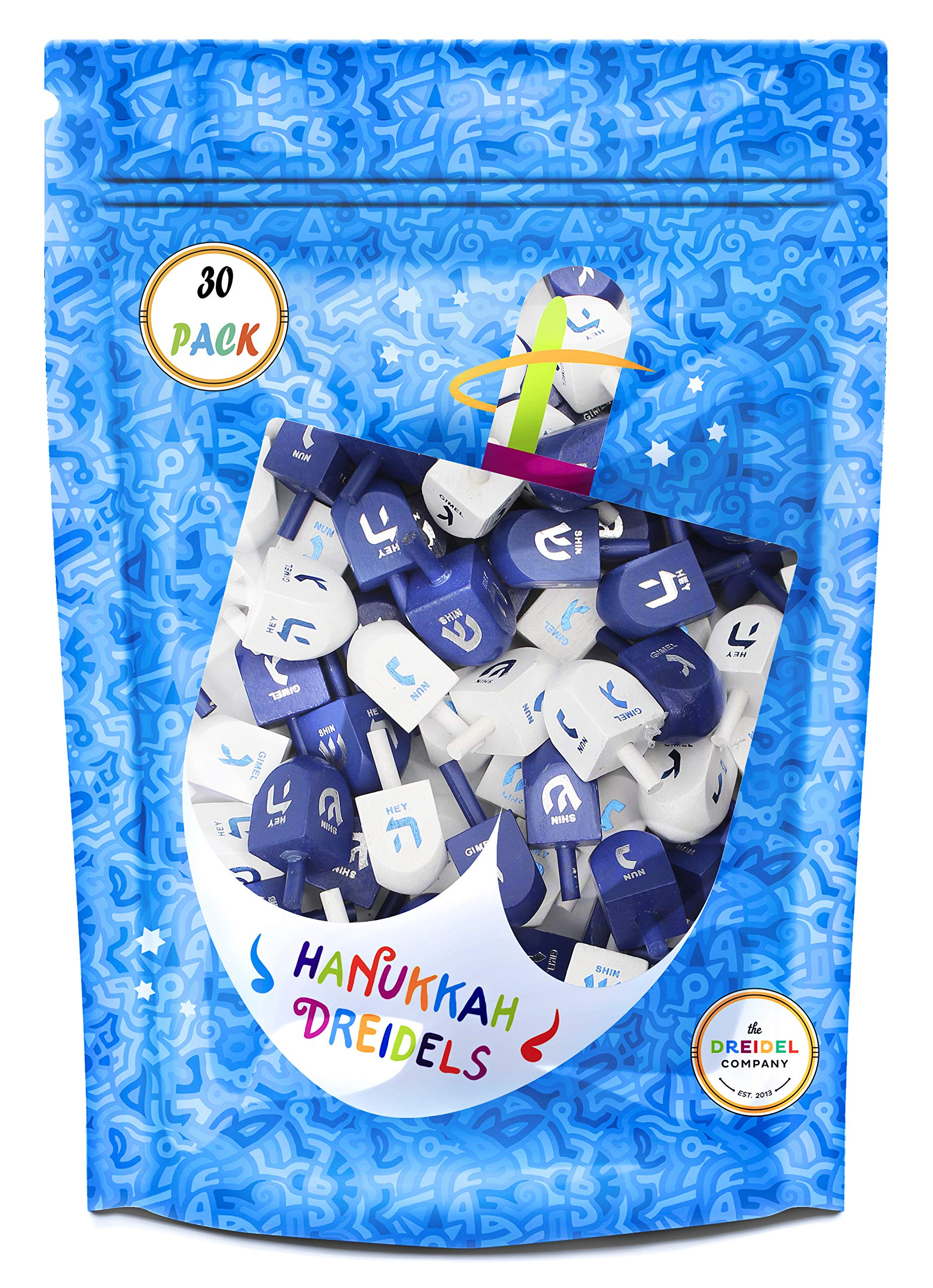 Wood Dreidel 30 Solid Blue & White Wooden Hanukkah Dreidels Hand Painted With English Transliteration - Includes x3 Game Instruction Cards! (30-Pack) by The Dreidel Company (Image #2)