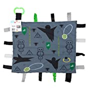 "Baby Sensory, Security & Teething Closed Ribbon Tag Lovey Blanket with Minky Dot Fabric: 14""X18"" (Dark Magic)"