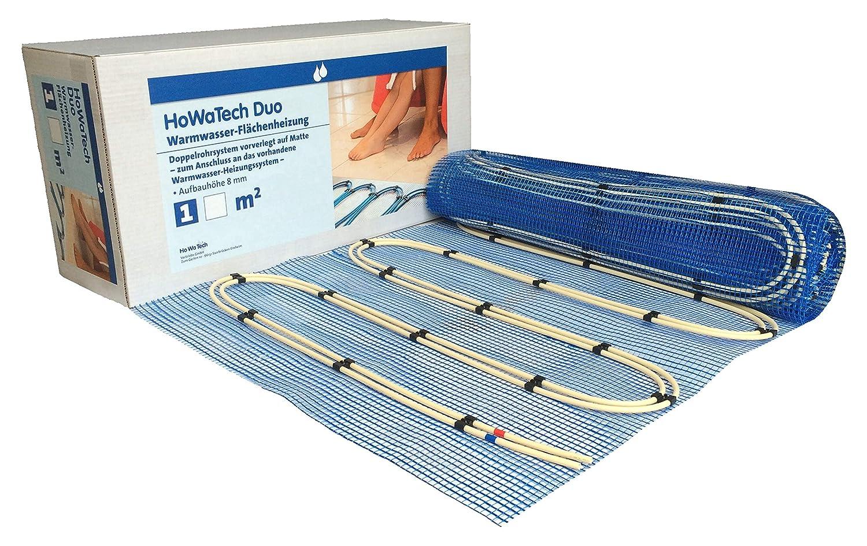 HoWaTech Duo Warmwasser Fu/ßbodenheizung Set mit Doppelrohr Heizmatte und Multibox K-RTL Heizfl/äche:5.00m/²