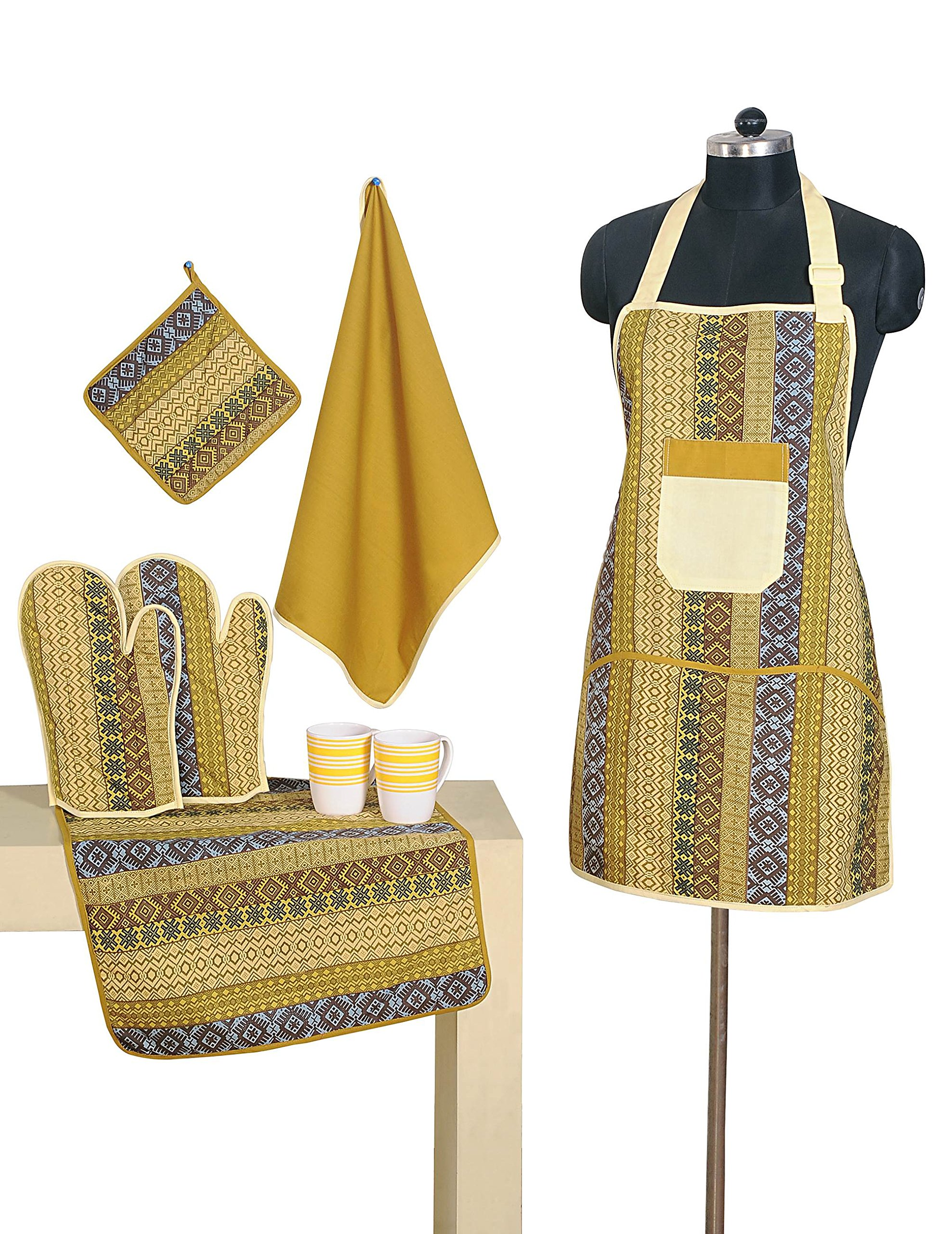 Patterned Cotton Chef's Apron Set with Pot Holder, Oven Mitts & Napkins - Perfect Home Kitchen Gift or Bridal Shower Gift by Swayam
