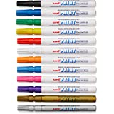 Uni-Paint PX-21 Oil-Based Paint Marker, Fine Point, Assorted Colors, 12-Count
