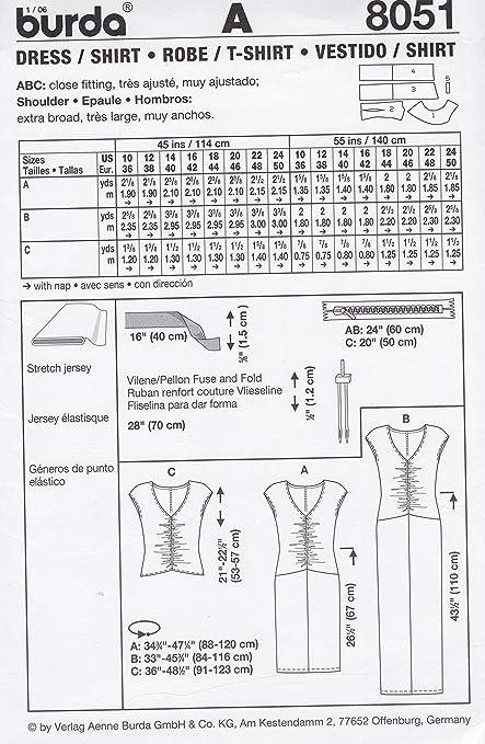 Amazon.com: Burda Pattern 8051, Misses Dress, T-Shirt. Sizes 10 to 24: Home & Kitchen