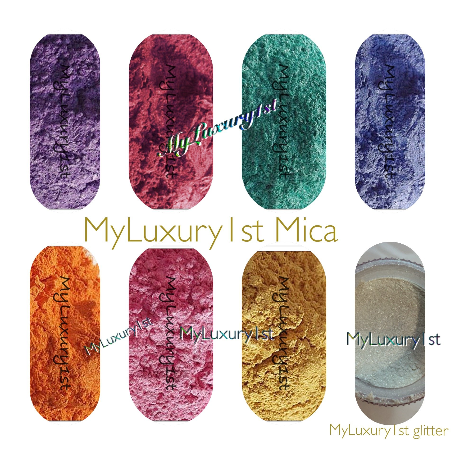 160 Grams Mica Colorants Lot of 8 Cosmetic 20g Soap and Craft Color Pigment Powders Teal Yellow Pink Orange Purple Hot Magenta Pink Fuchia White Blue in Baggies Set by MyLuxury1st (Image #1)