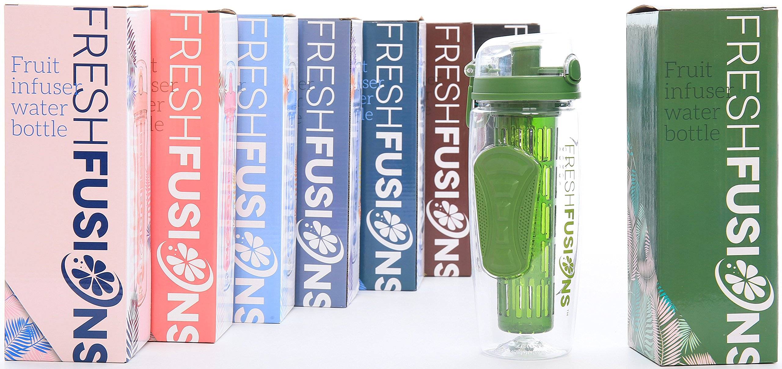 Fresh Fusions Fruit Infuser Water Bottle 32 Oz With Insulated New Tritan Infusd Sleeve Healthy Recipe Ebook Includes 25 Infused Recipes Lemon