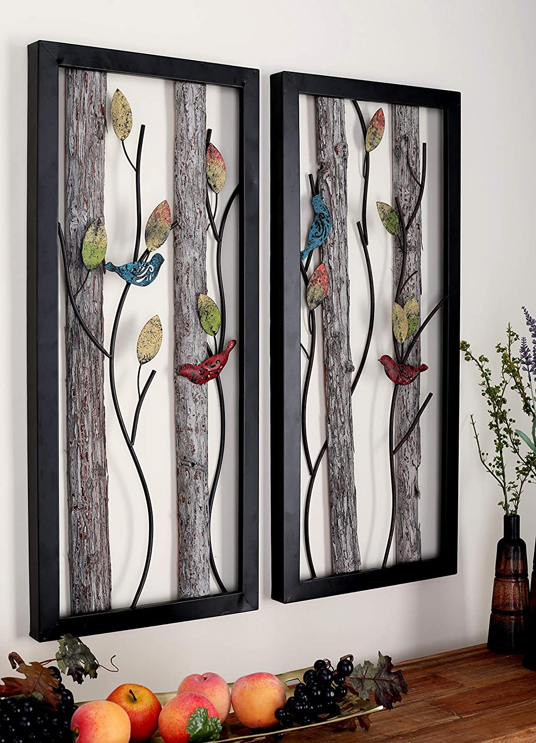 "Deco 79 48635 Large Rectangular Red and Blue Birds on Branches Wood and Metal Wall Décor, Eclectic Wall Art, Bird Décor, Bird Sculptures | Set of 2: 16"" x 36"" Each"