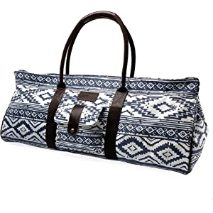 7f5acd7187 Kindfolk Yoga Mat Tote Bag Carrier Patterned Canvas with Pocket and Zipper