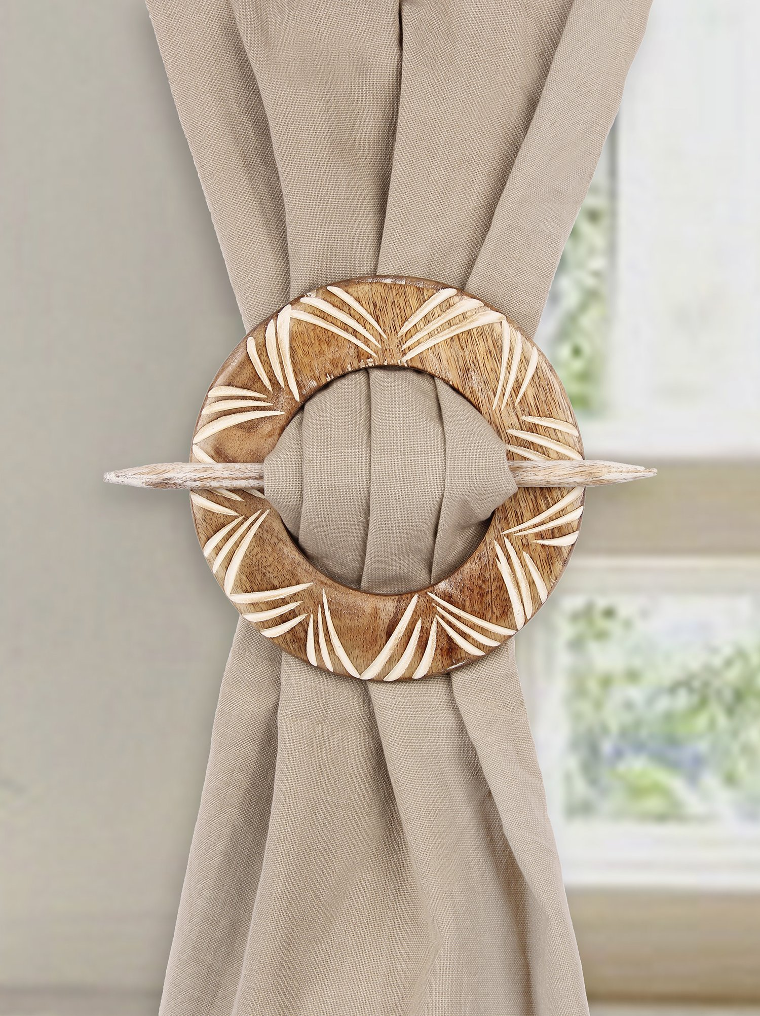 Aheli Decorative Wooden Curtain Tiebacks Set of 2 Window Treatment Holdbacks Drape Binds Hand Carved with White Distressed Finish by Aheli (Image #2)