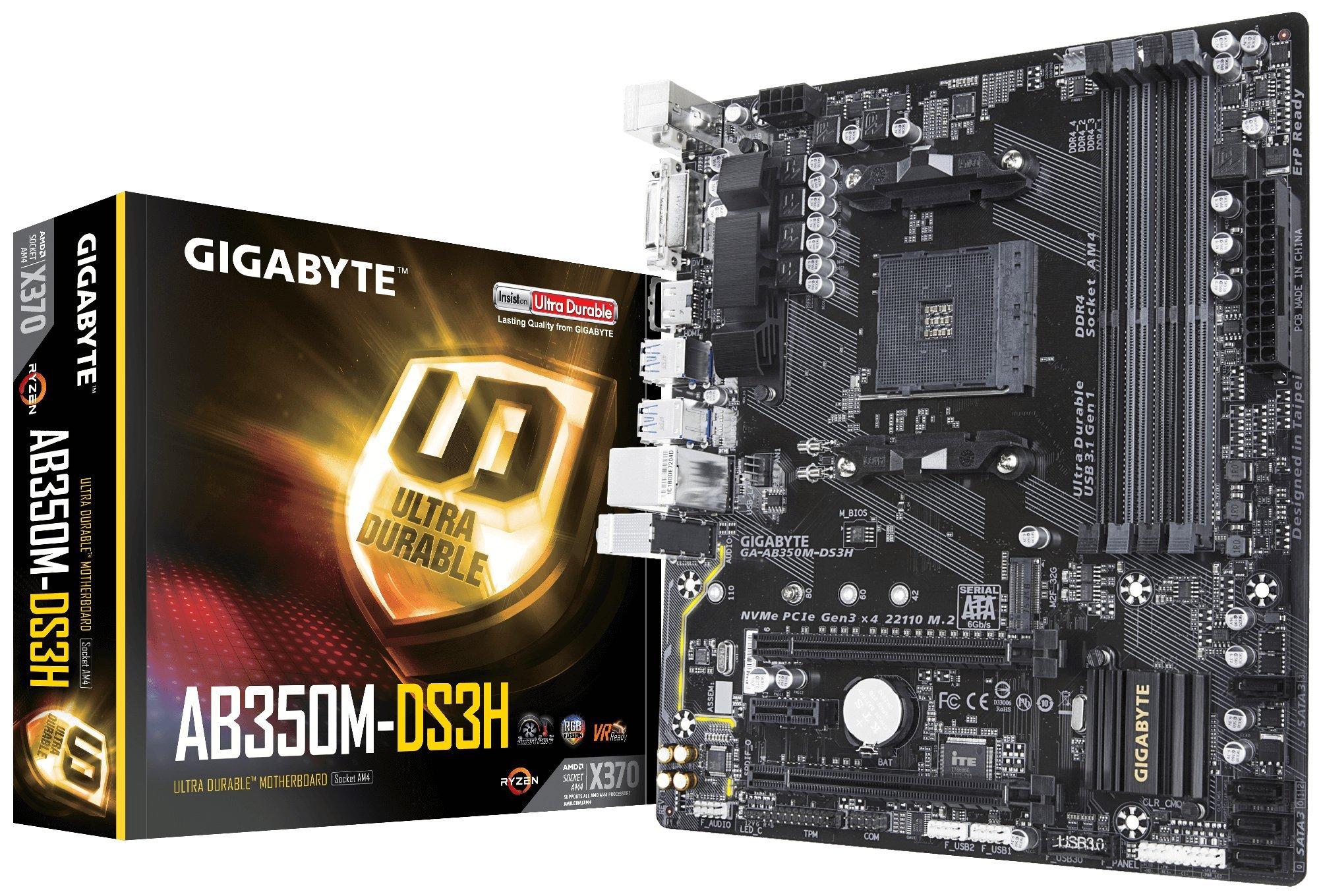 GIGABYTE GA-AB350M-DS3H (AMD Ryzen AM4/ B350/ 4X DDR4/ HDMI/M.2/ SATA/USB 3.1 Gen 1/ / RGB Fusion/Micro ATX/Motherboard) by Gigabyte (Image #1)