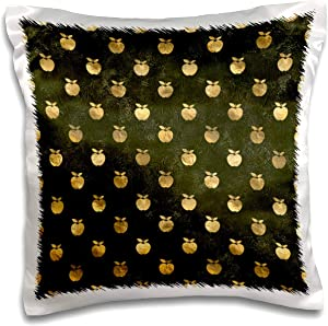 3dRose Chic Image Of Gold Apples On Grunge Green Pattern - Pillow Cases (pc_328641_1)