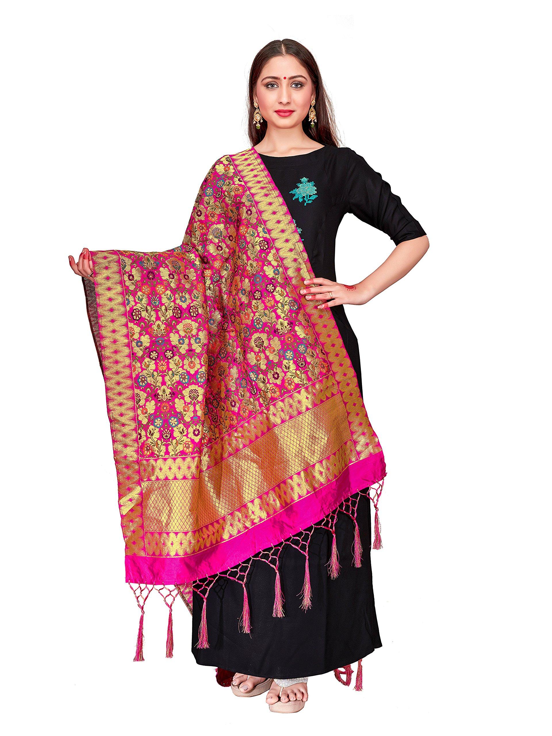ELINA FASHION Women's Zari Work Indian Banarasi Art Silk Woven Only Dupatta Dress Material & Salwar Suit (Pink)