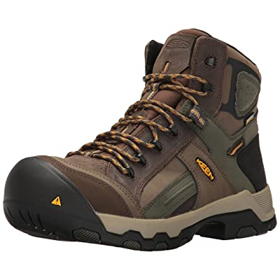 KEEN Utility Men's Davenport Mid All Leather Waterproof Industrial and Construction Shoe | Shoes