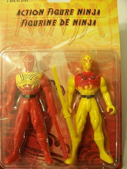 Amazon.com: Ninja Action Figure 2 Pack ~ Red Ninja & Yellow ...