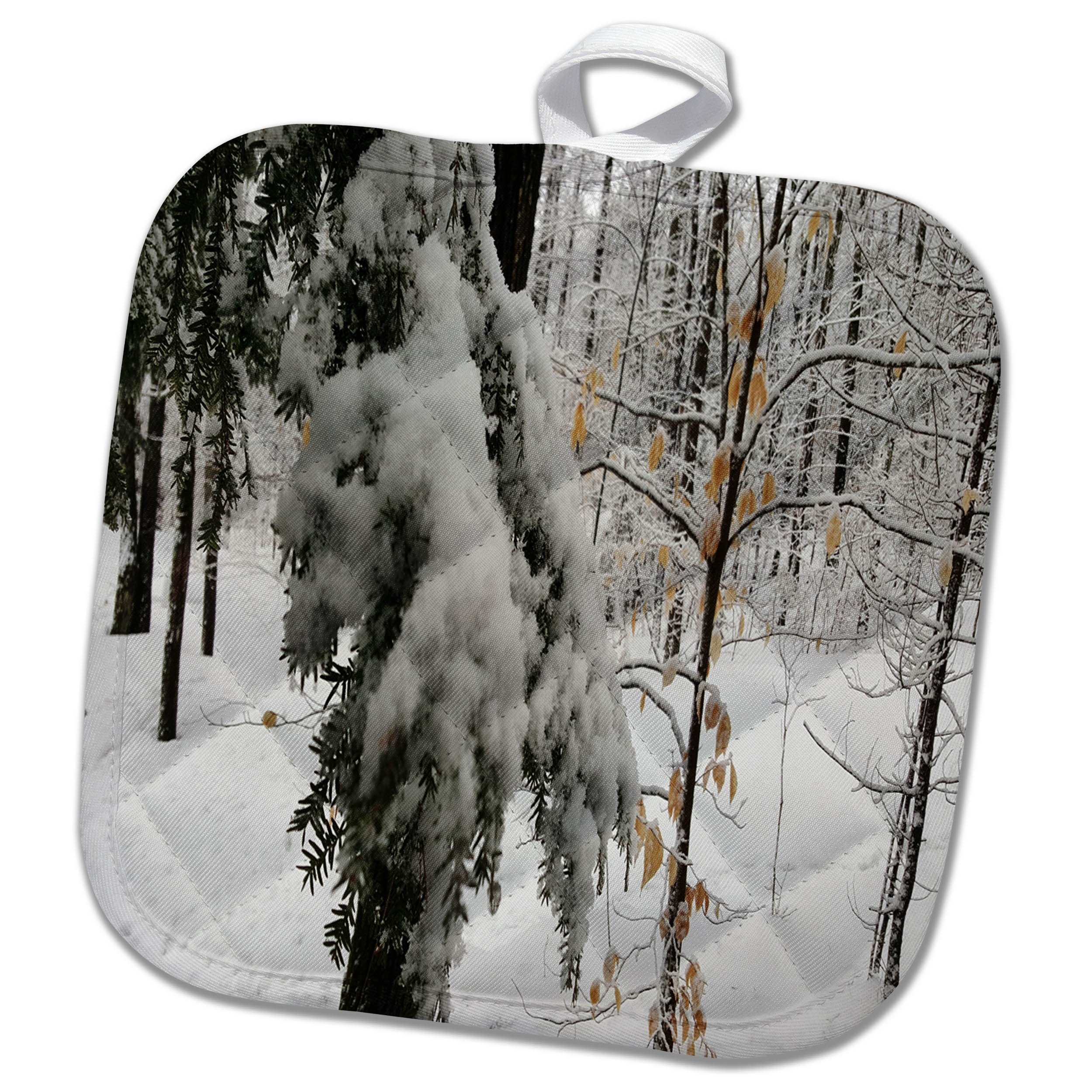 3dRose TDSwhite – Winter Seasonal Nature Photos - Winter Scenic Snowy Woods - 8x8 Potholder (phl_284960_1) by 3dRose (Image #1)