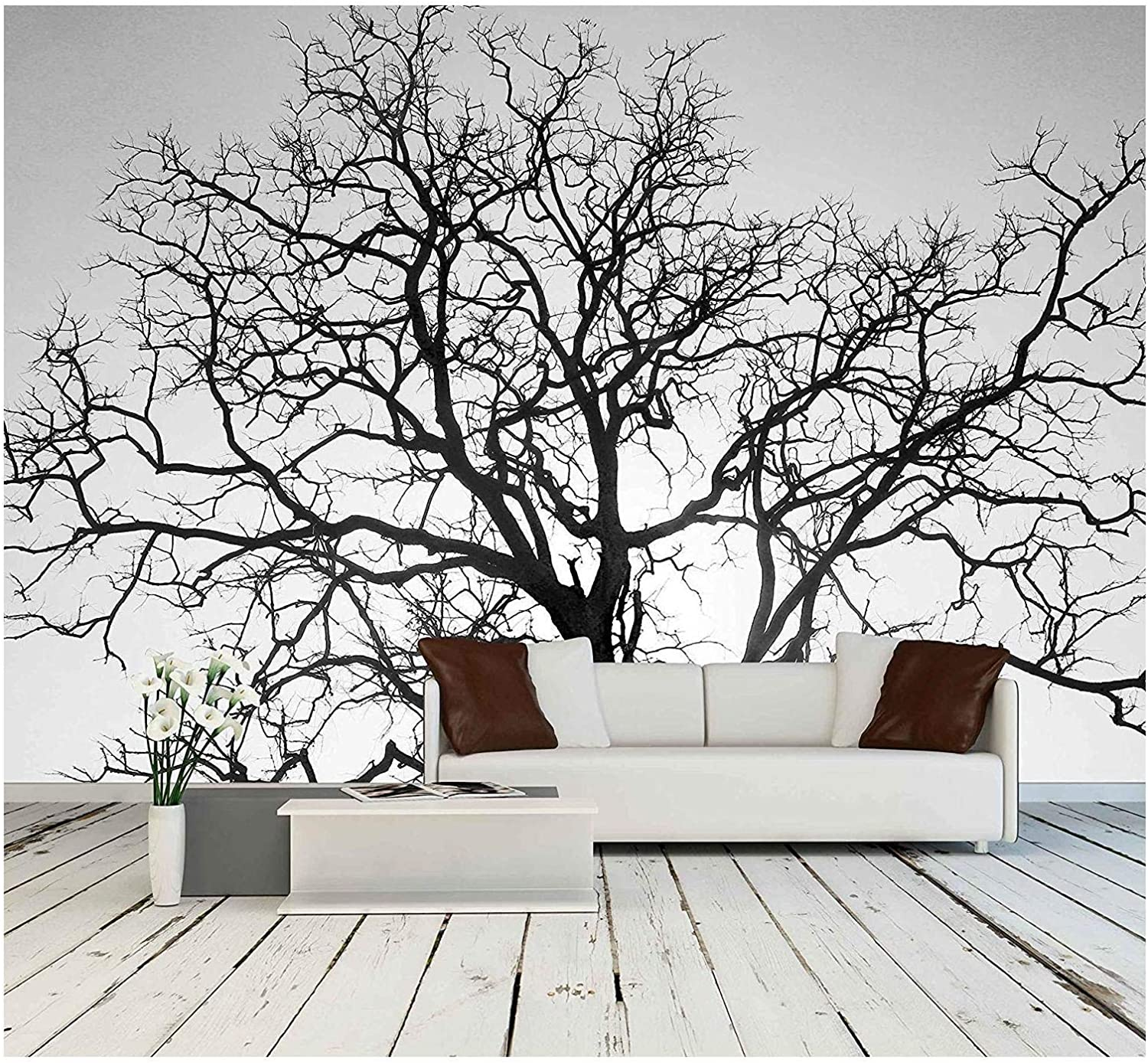 wall26 - Dead Tree Branch, Black and White - Removable Wall Mural | Self-Adhesive Large Wallpaper - 100x144 inches