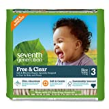 Amazon Price History for:Seventh Generation Baby Diapers, Free and Clear for Sensitive Skin, Original Unprinted, Size 3, 155 Count