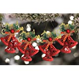 TIED RIBBONS Christmas Decorations for Door Wall Home Tree Merry Christmas Bell Hanging Ornaments-Pack of 4