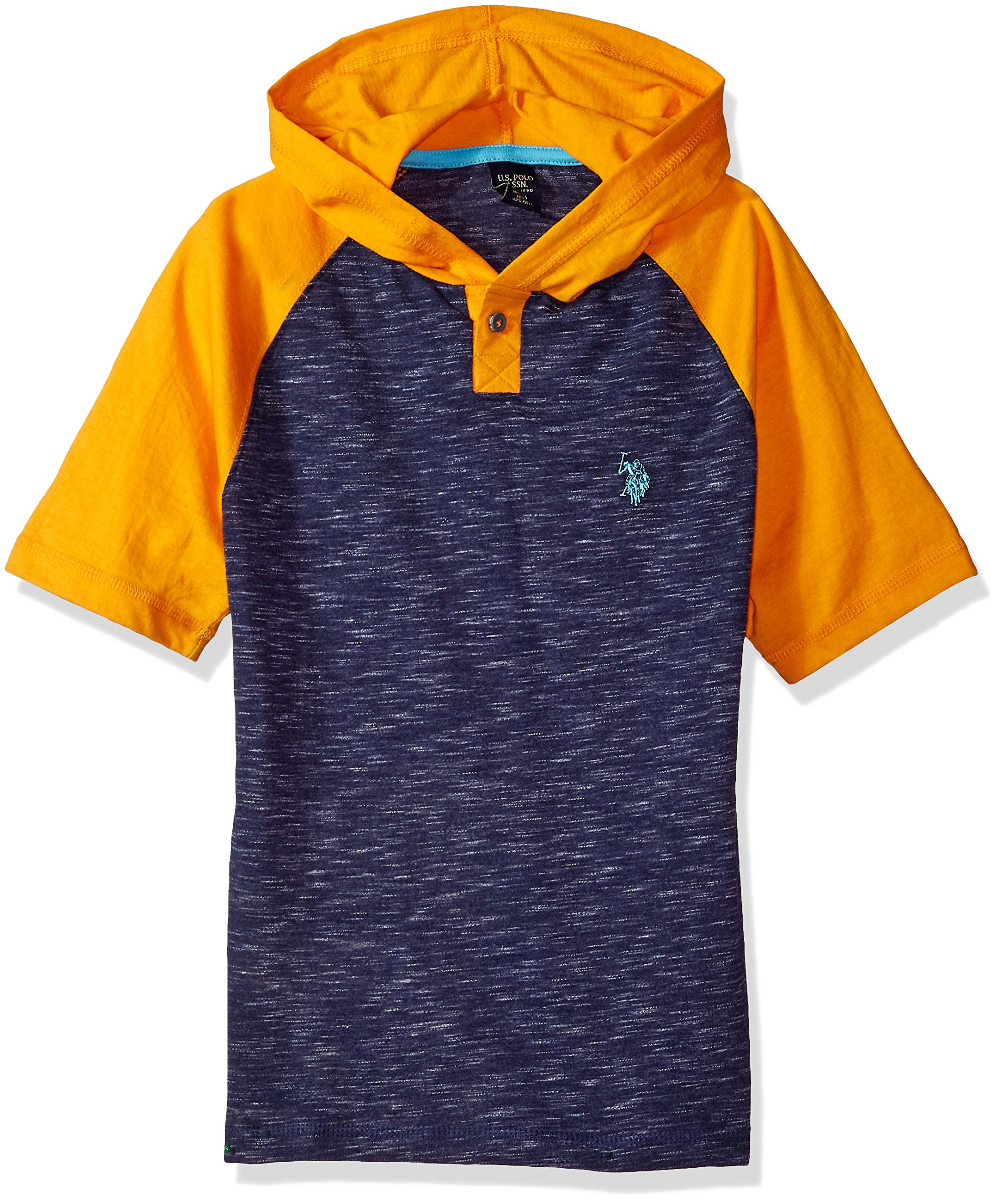 U.S. Polo Assn. Little Boys' Short Sleeve Jersey Hoodie, Colorblocked Melange Popover Henley Classic Navy, 5/6