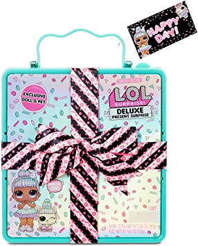 LOL Surprise Deluxe Present Surprise (Teal) with Limited Edition Doll and Pet In Party Gift Box Packaging With Surprise Treats, Outfits, Shoes, Confetti, Sand, Color Change, Water Fizz | Ages 4-15