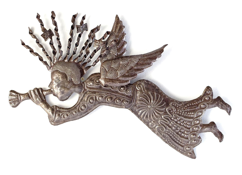 22 X 12 22 X 12 Haiti Spiral Hair 3-D wing Metal Angel Wall Art