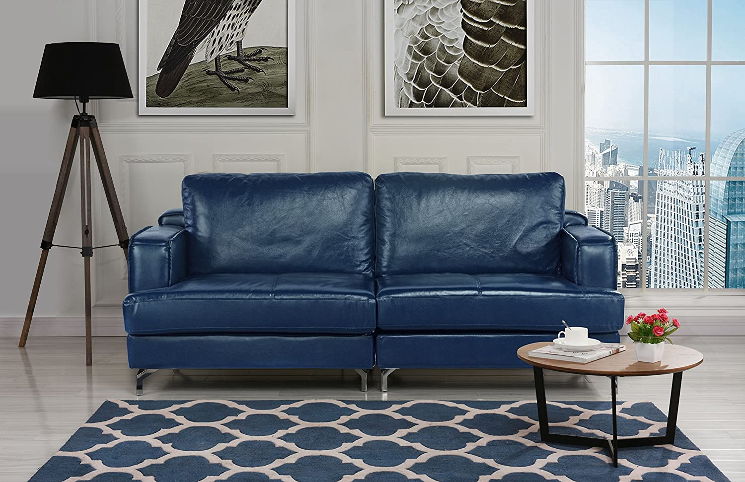 Amazon com ultra modern plush leather living room sofa blue kitchen dining