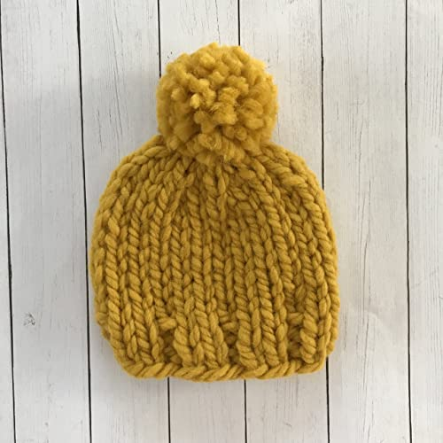 8bd1f70a89a Amazon.com  Mustard Yellow Baby Beanie - 0 to 3 Months  Handmade