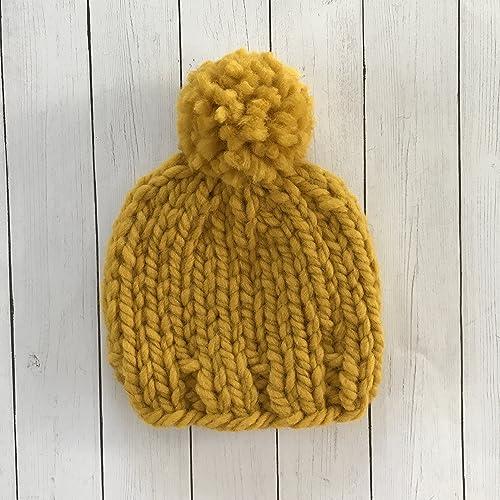 b85428933c7 Amazon.com  Mustard Yellow Baby Beanie - 0 to 3 Months  Handmade