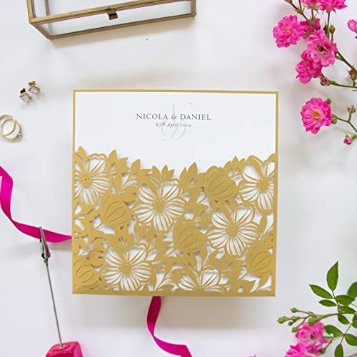 Gold Floral Square Lace Wedding Invitations With Envelopes