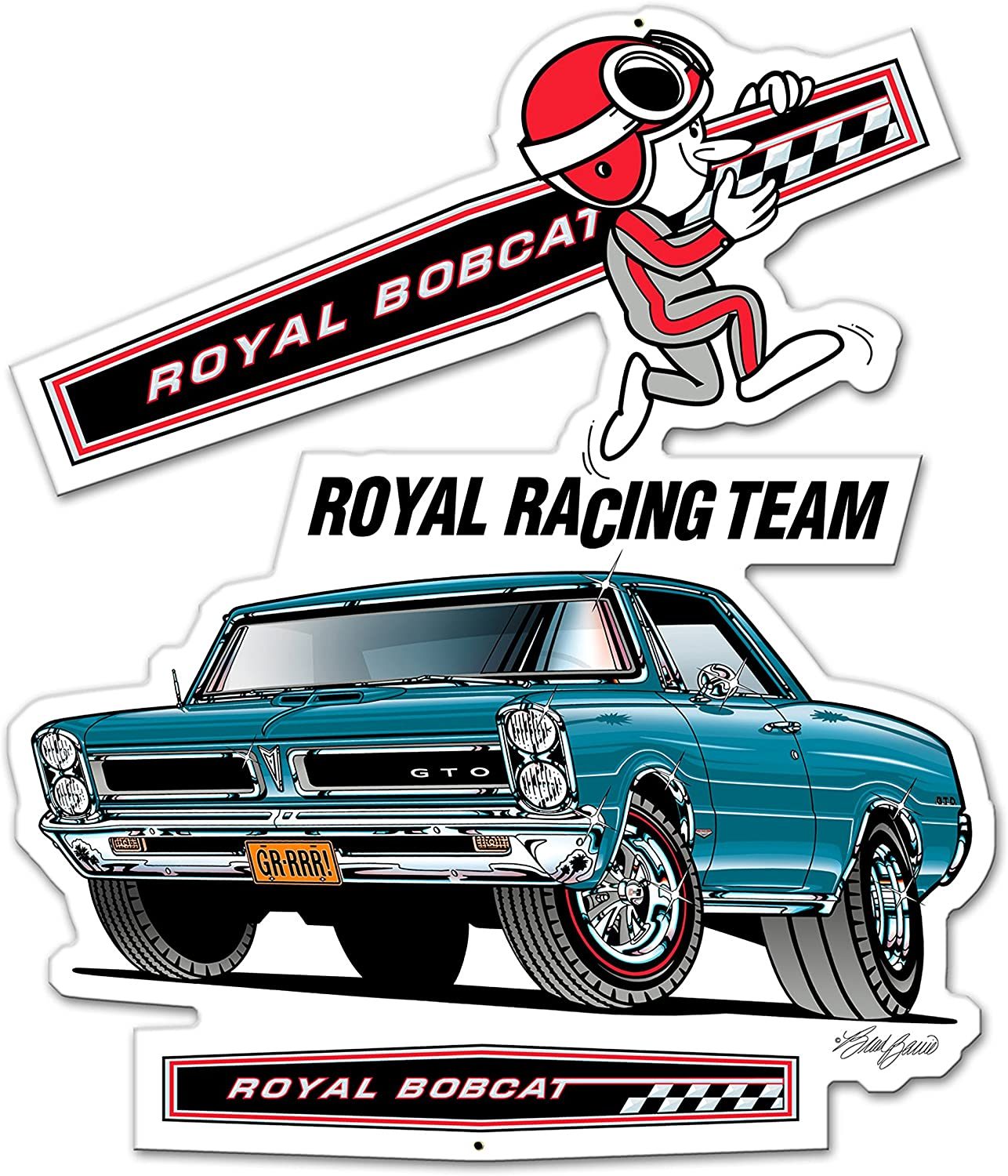 "1965 Pontiac GTO Royal Bobcat Racing Team Sign 21"" x 18"" Hurst Drag Gasser"