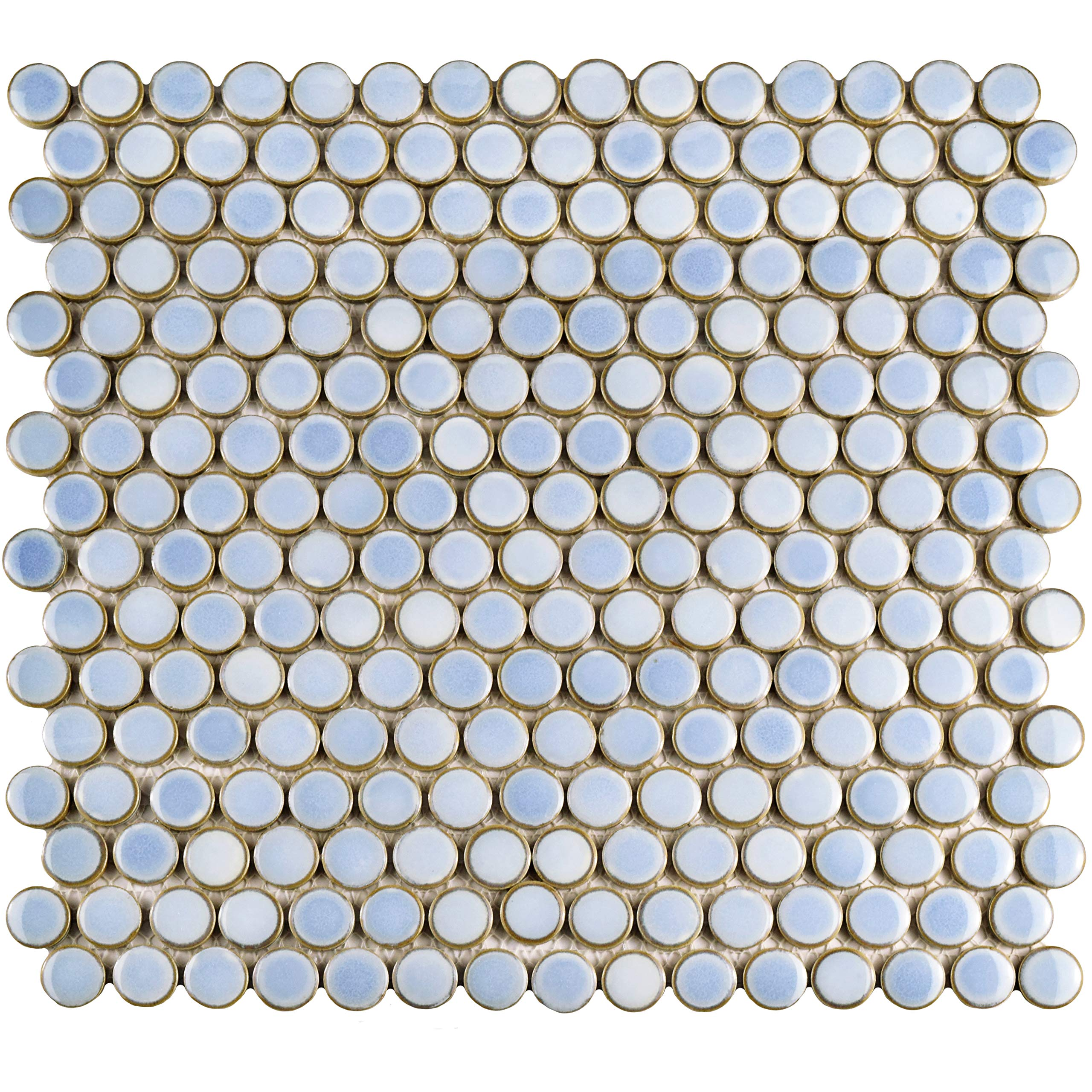 SomerTile FKOMPR14 Penny Porcelain Mosaic Floor and Wall, 12'' x 12.625'', Frost Blue/Brown Tile, 10 Piece