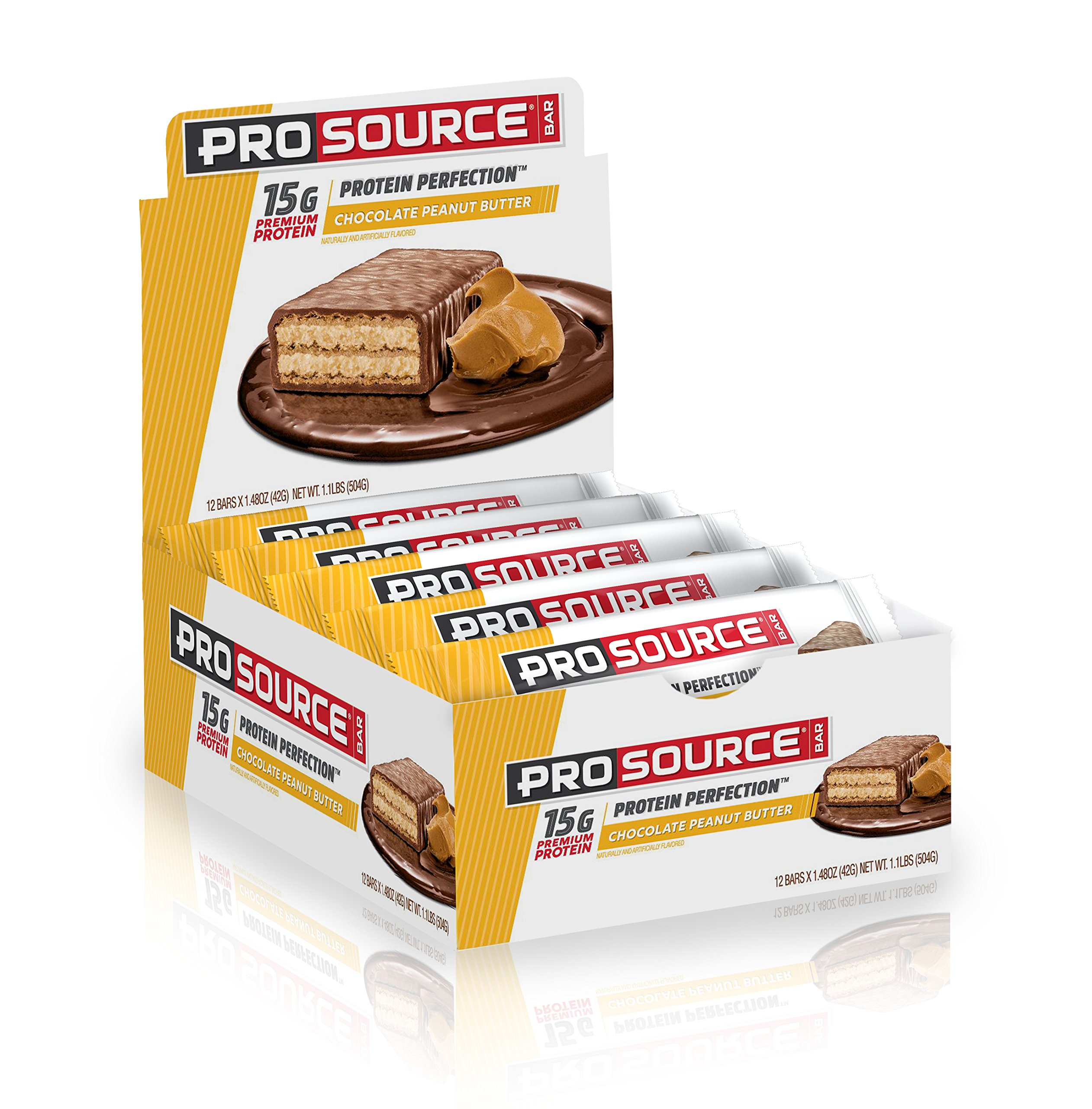 ProSource Protein Bar | 15g of Premium Protein | Hydrolyzed Whey | Delicious Gourmet Taste | NO Soy | NO Sugar Alcohols | Chocolate Peanut Butter (Pack of 12)