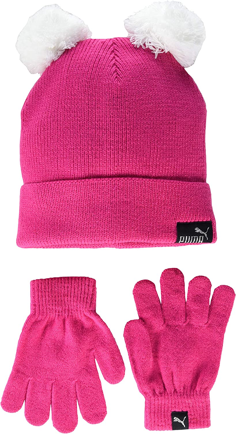 Pink//Black PUMA unisex child Evercat Youth and Glove Set Beanie Hat Youth Size US