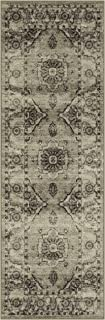 product image for Maples Rugs Distressed Lexington Non Slip Runner Rug For Hallway Entry Way Floor Carpet [Made in USA], 2 x 6, Neutral