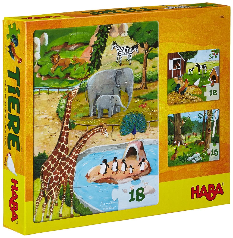 Haba 4960 - Puzzles Tiere, Kinderpuzzles ab 3 Jahren, mit 3 tollen Puzzle-Motive in einer Schachtel empfohlenes Alter: ab 3 Jahre Frühe Kindheit Frühkindliche Bildung Non Books