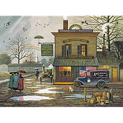 Buffalo Games - Charles Wysocki - Dampy Donuts on a Dreary Day - 1000 Piece Jigsaw Puzzle: Toys & Games