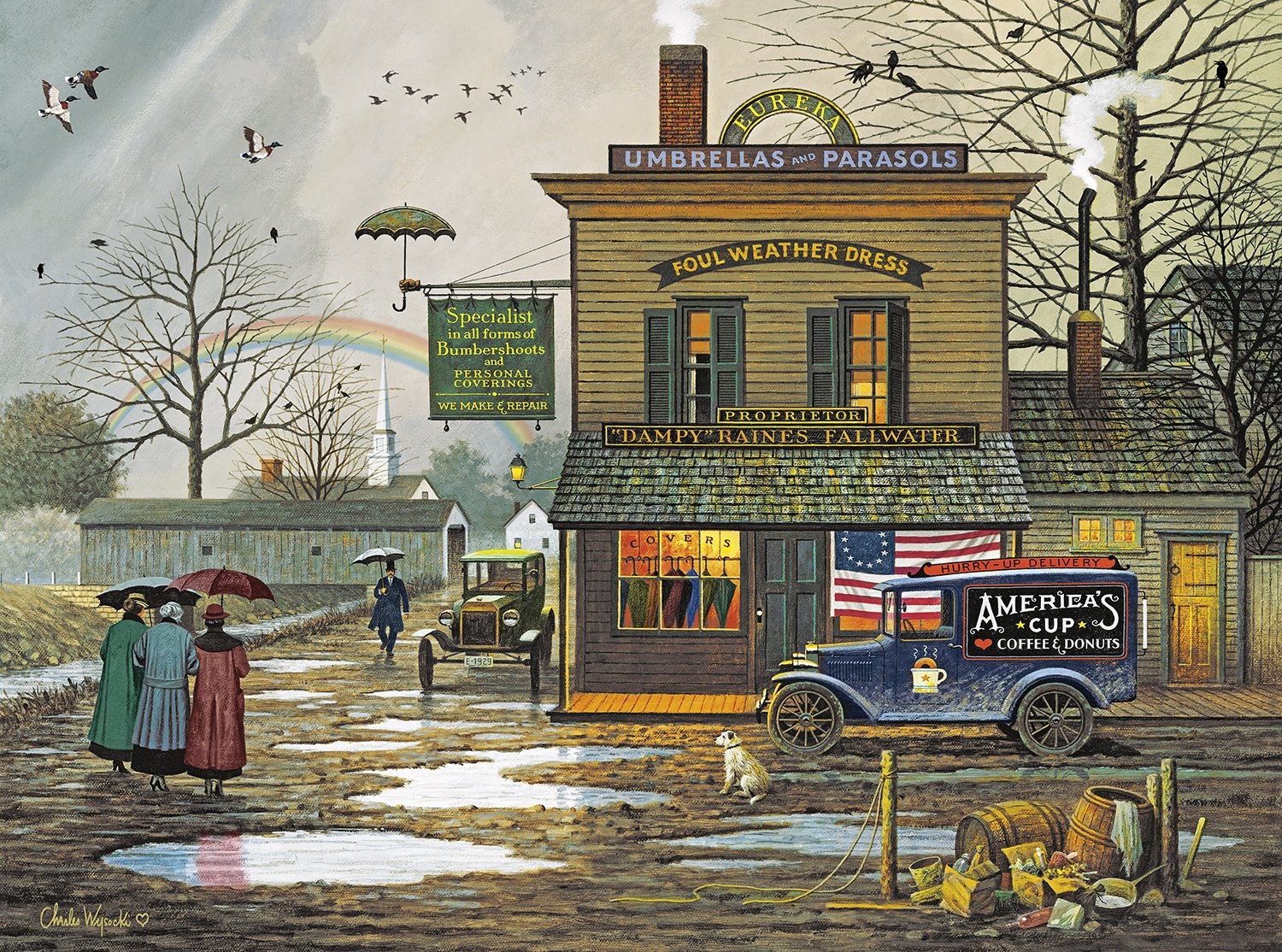 Buffalo Games - Charles Wysocki - Dampy Donuts on a Dreary Day - 1000 Piece Jigsaw Puzzle