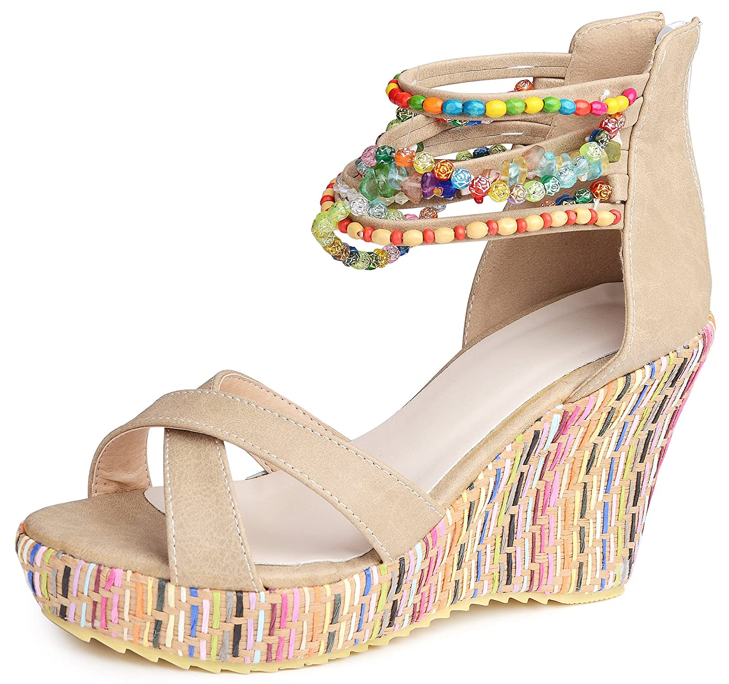 25015a778d54 Catata women bohemian beaded platform wedge pump high heel sandals jpg  1500x1407 Bohemian beading sandals