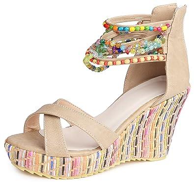 cdc11814c9b2 Catata Women Bohemian Beaded Platform Wedge Pump High Heel Sandals Apricot