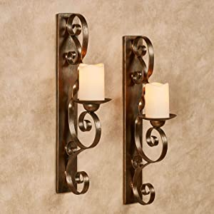 Touch of Class Stetson Wall Sconces Aged Gold Pair - Traditional Candle Holder for Bedroom, Living Room, Bathroom - Candles Decor Sconce Holders - Set of Two - 21.5 Inches High