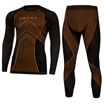 829c0b13a Norde THERMOTECH Functional Thermal Underwear Breathable Active Base Layer  SET (Black/Orange, S