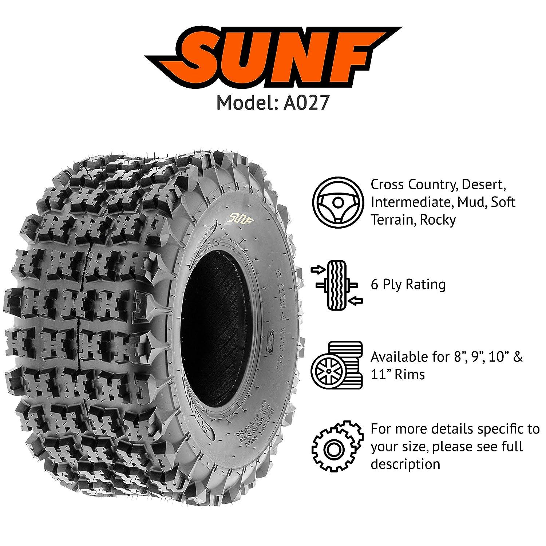 SunF All Terrain Race Replacement ATV UTV 6 Ply Tires 22x7-10 /& 22x10-9 Tubeless A027, Set of 4