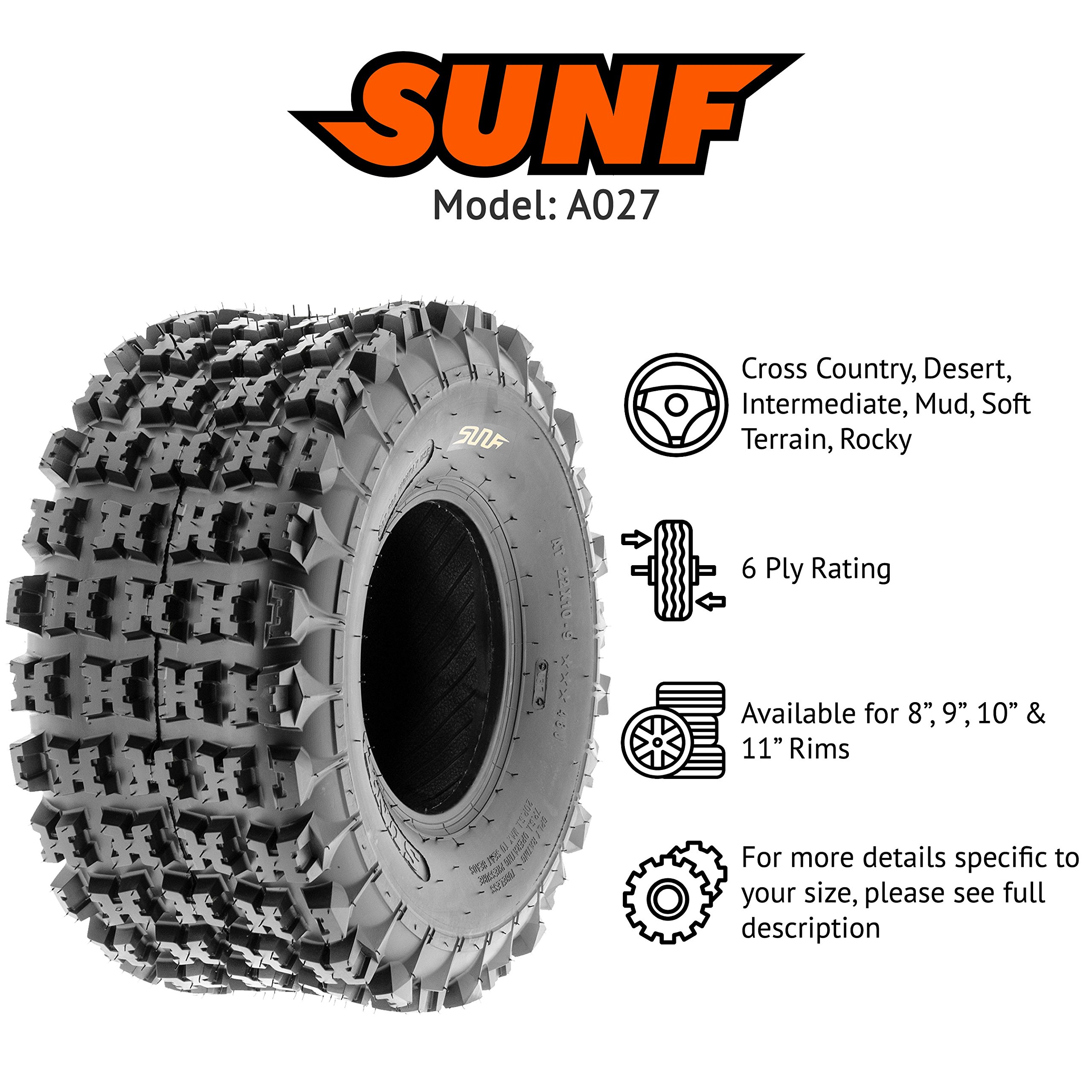 SunF 18x10.5-8 18x10.5x8 ATV UTV All Terrain Race Replacement 6 PR Tubeless Tires A027, [Set of 2] by SunF (Image #2)