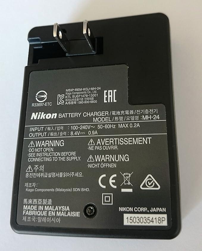 Amazon.com: Cargador de batería Nikon MH-24 para EN-EL14 ...
