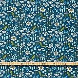 MIRABLAU DESIGN Stoffverkauf Bio Baumwolle Kord GOTS Blumen weiß auf blau (16-063M), 0,5m