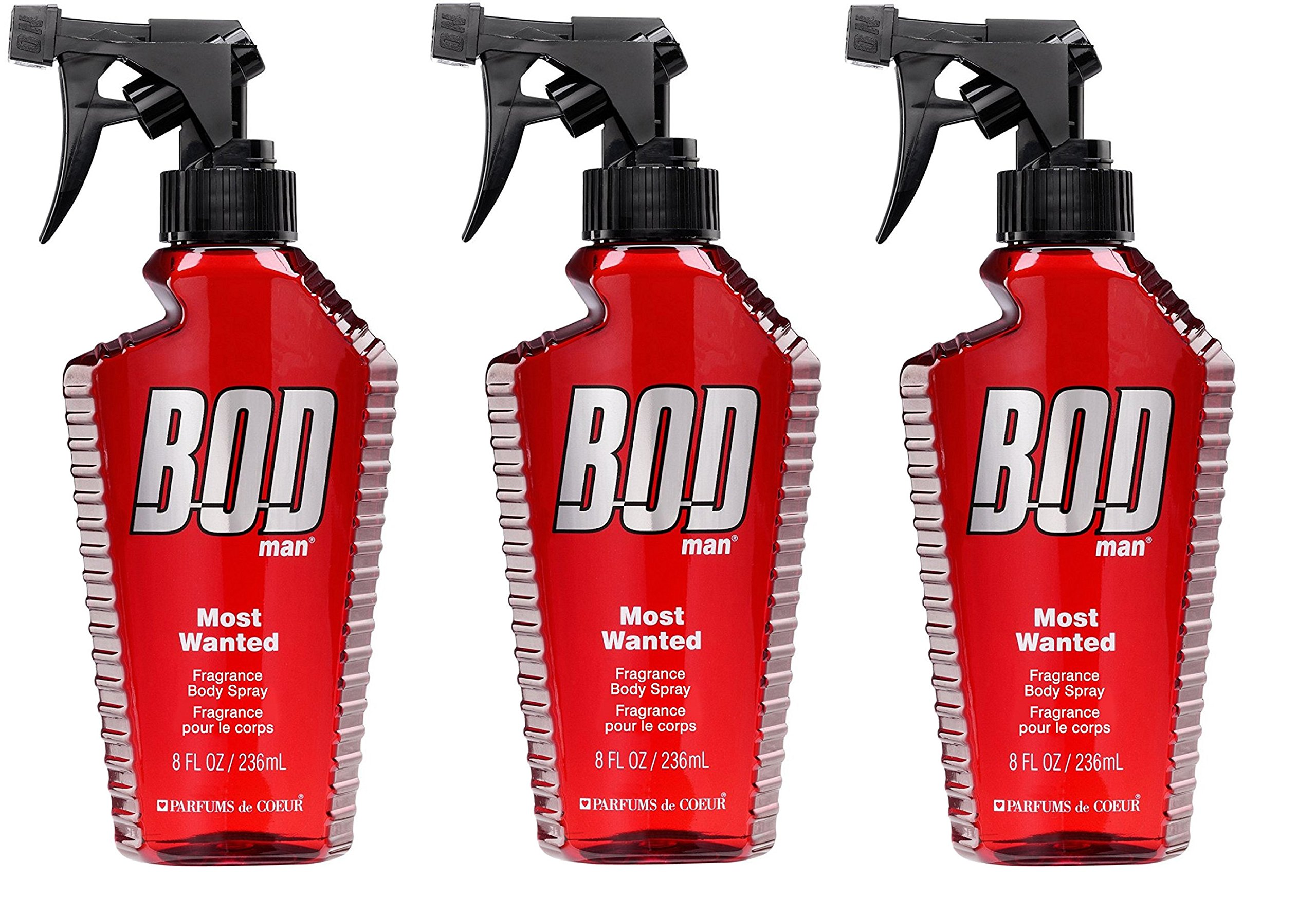 BOD Man Most Wanted, Fragrance Body Spray, 8 Fluid Ounce. Pack of 3.