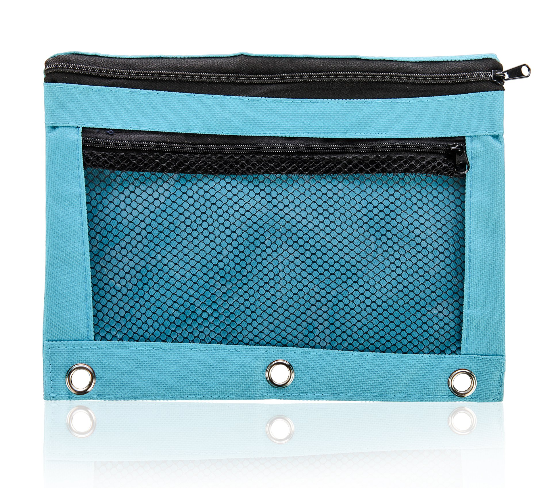 Pencil Bag with Zipper for Kids & Adults by Boona|3 Ring Binder Pouch for Fountain Pens|2 Compartments & Mesh Window|Canvas Organizer|Art Marker & Crayon Carrying Pouch|Washable (5 Pack of 6 colors) by KP Solutions (Image #3)