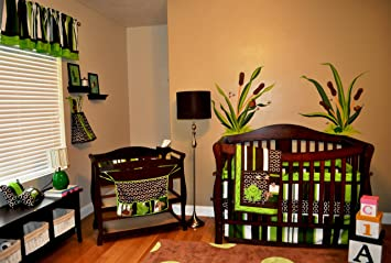 amazon com dk leigh nursery crib bedding set frog 7 count green
