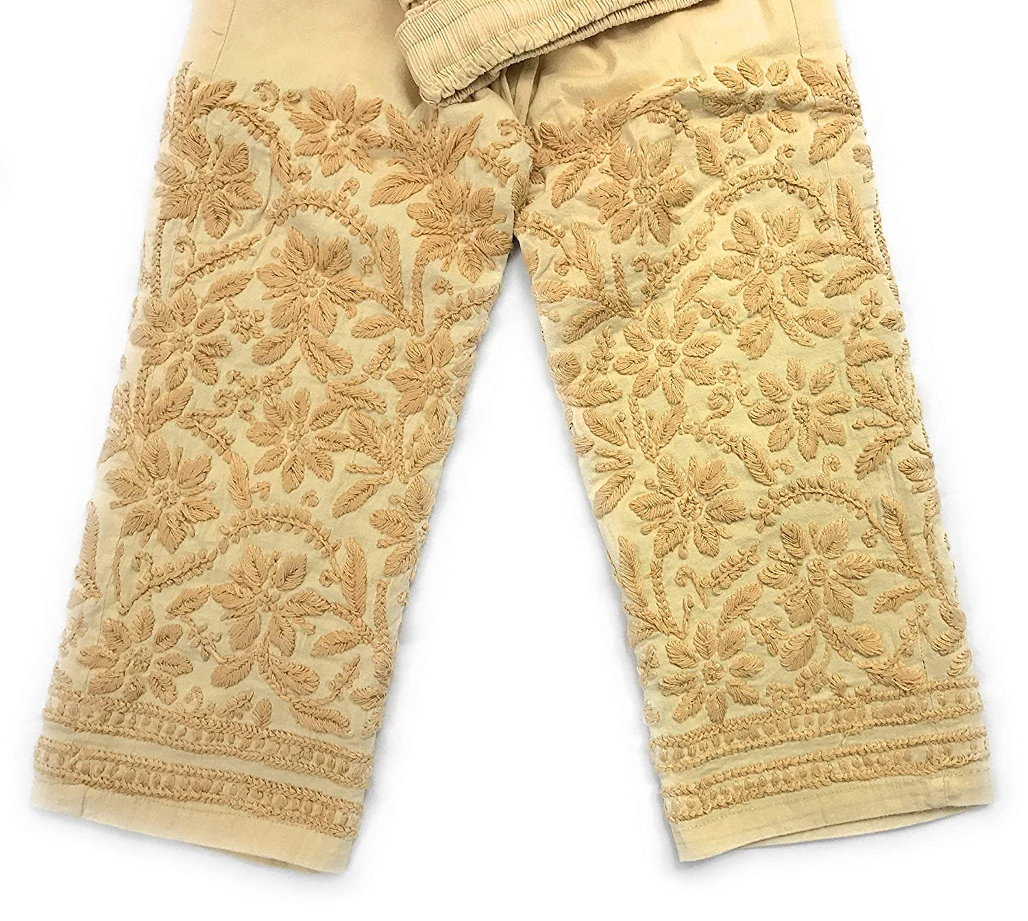 Lucknow Chikankari stretchable cotton leggings, narrow pants/Comfortable ankle length narrow pants Beige/Hand embroidered/One size fits most (Beige) LENGTH:37 Inches