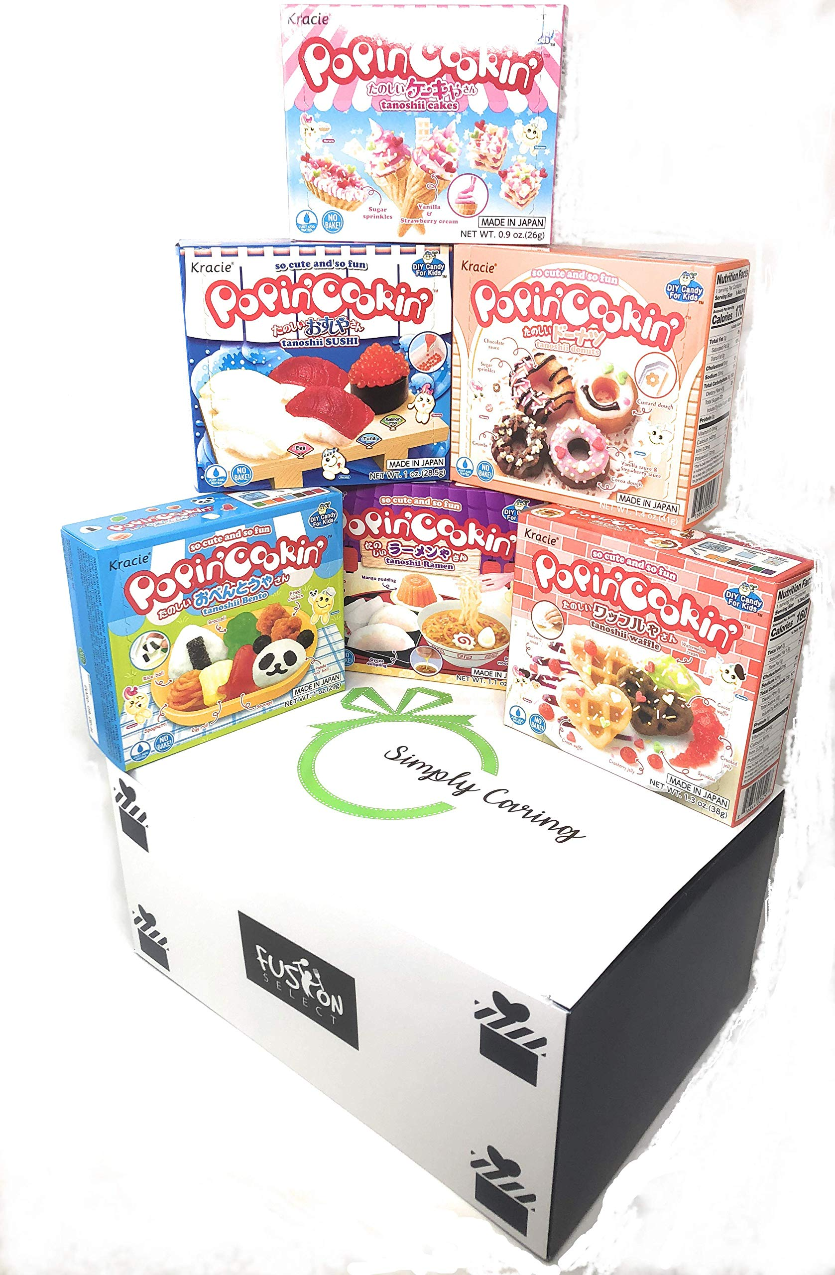 6 Boxes Bundle Kracie Popin' Cookin' DIY Gummy Candy Making Kit Tanoshii Cakes, Sushi and Donuts,Tanoshii Bento, Ramen and Waffle in Fusion Select Gift Box by Fusion Select